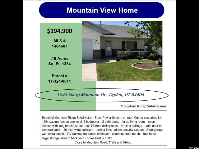 1043 SHARP MOUNTAIN DR Unit 154 Ogden, UT 84404 - MLS #: 1464607