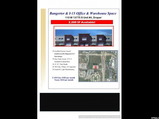 110 W 13375 #4 Draper, UT 84020 - MLS #: 1525313