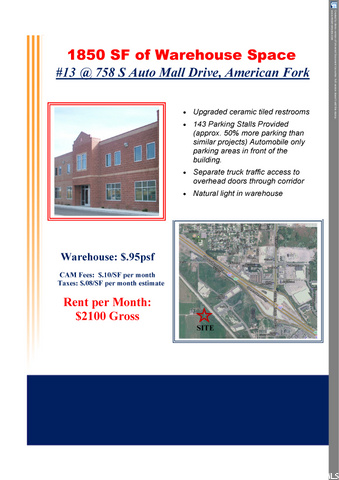 758 S AUTO MALL DR W #13, American Fork, Utah 84003, ,Commercial Lease,For sale,AUTO MALL DR,1700496