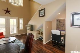 Dining, Desk Nook, Stairs: Desk Nook, Door to Balcony