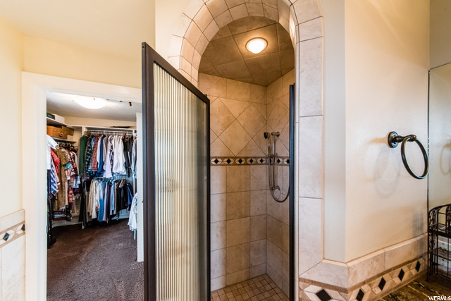 Master bathroom shower and walk in closet