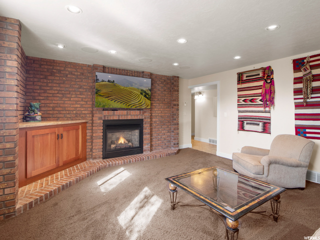 Lower level family/theater room and gas fireplace
