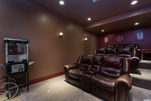 Large theater room in basement