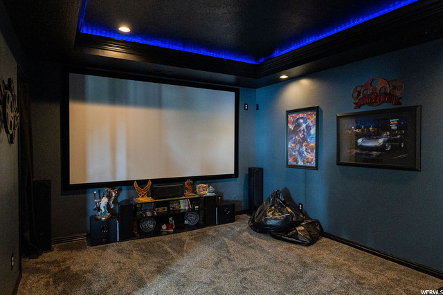 Basement Movie Room - surround sound, projector, screen, lighting